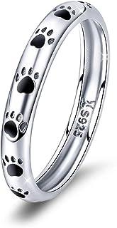 Anillos de plata de ley 925 con huellas de gato, apilables, anillos de boda, joyas de Navidad, regalos de cumpleaños para ...