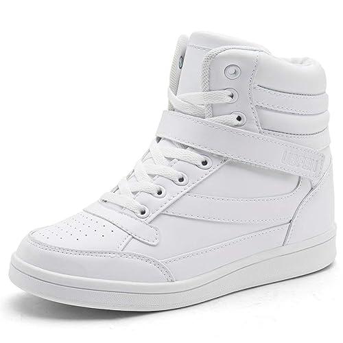 5f9fcc6674b UBFEN Deportivos de Cuña Mujer Zapatillas Botines Botas Deporte Zapatos  Alta Sneakers Wedges Elevador Interior Talón