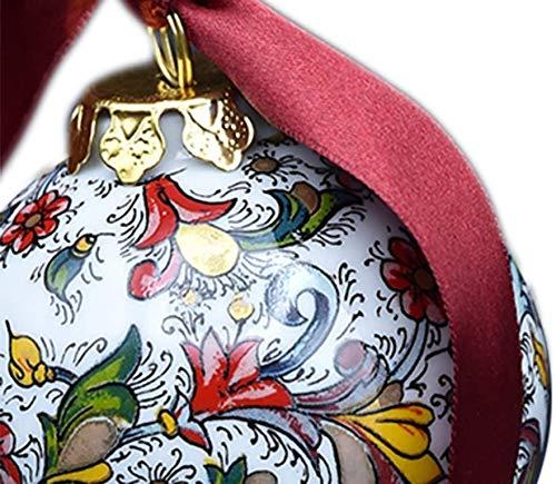 Pallina di Natale in Vera Porcellana Carta Fiorentina Verde o Rosa Decorato con la Tecnica della Decalcomania da abili Artigiani fiorentini e Rifinito artigianalmente