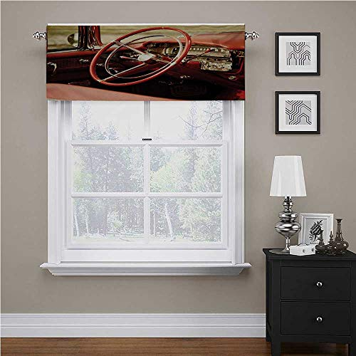 Cars Valances for Windows Interior of an Antique Classic Aged Car Exquisite Control Board Details Retro Picture - Small Window Curtain Tier Red Silver 54' X 12', Rod Pocket 1 Valance