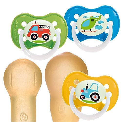 Canpol babies 3St Latex Kirschform Rund Fahrzeuge Vehicles Beruhigungssauger (A (0-6M))