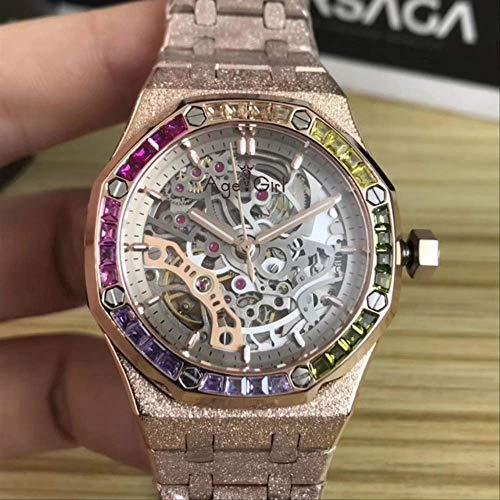 Brandless Freizeituhren Damen Silber Roségold Automatische mechanische Saphir Edelstahl Regenbogen Diamant Uhr Tourbillon Skelett Gold