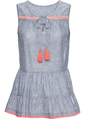 bonprix Besticktes Blusentop mit Volant und Kordel blau/weiß 34 für Damen
