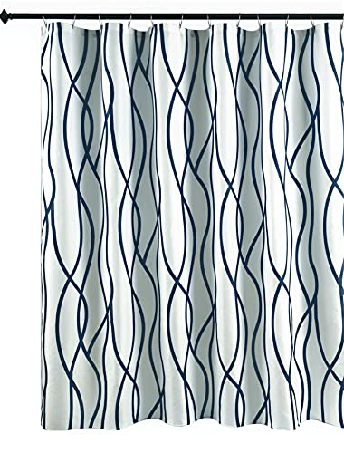 Navy Lines Shower Curtain
