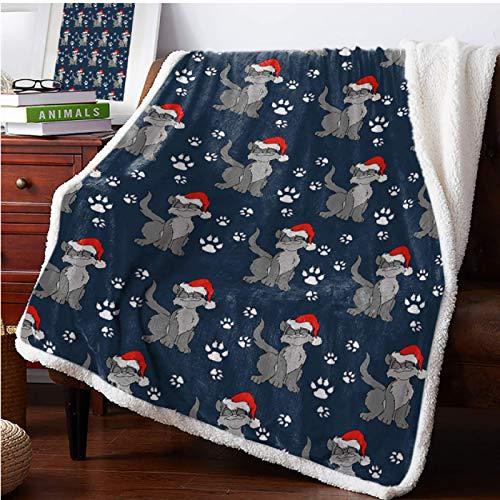 Manta de forro polar de franela supersuave, diseño de lobo de dibujos animados garras de Papá Noel, sombrero de Papá Noel, portátil, funda de viaje para coche, colcha de 80 x 60 pulgadas