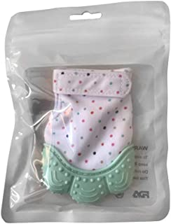 eroute66 Teething Mittens Baby Teething Silicone Mitten Glove Soothing Prevent Scratches Teether Toy Mint Green
