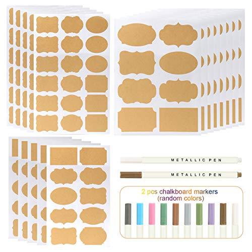 Kesote 204x Etiketten Selbstklebend Aufkleber Natur Haushaltsetiketten Küchen Blanko Sticker mit 2 Metallic Stifte (Farbe Zufällig)