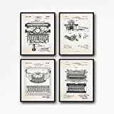 WallBuddy Vintage Typewriter Patent Posters Set de 4 grabados para máquina de escribir de escribir Art Gift for Writer Gift Office Wall Art WB43-234-235-236 (50 cm x 70 cm), color marfil