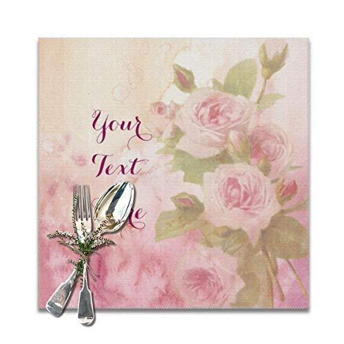 Juego de 6 manteles individuales de acuarela con rosas rosas rosas suaves, lavables y antideslizantes, cuadrados, 30,5 x 30,5 cm, para cocina, comedor, decoración del hogar