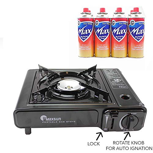 MAXSUN Camping Gas Stove, Cooker, Portable Outdoor Single Burner, Available with Camping Gas, Butane Canisters, Lightweight, Safe Perfect for Picnics BBQ with Bonus Bag (stove + 4 Butane gas)