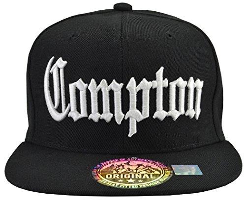 Incrediblegifts Compton Snap Back Black Hat White Embordered,One Size