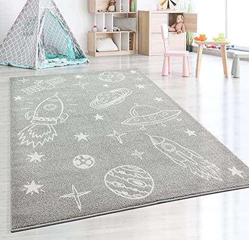 Beat Kids - Alfombra moderna para niños, suave, fácil de limpiar, no destiñe, diseño espacial, color gris, 200 x 280 cm