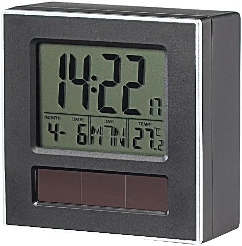 infactory Solar Wecker: Solar-Funkwecker DCF mit LCD-Display, Kalender & Thermometer (Solar Wecker Funkwecker)