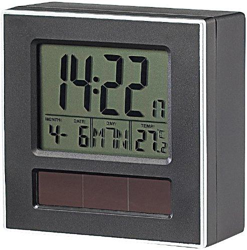 infactory Solar Wecker: Solar-Funkwecker DCF mit Beleuchtung, Kalender & Thermometer (Funk Solar Wecker)