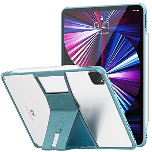 MoKo Case Fit New iPad Pro 11 Inch Case 2021, iPad Pro 11 3rd Gen[Support Apple Pencil Charging]Slim Lightweight Cover Flexible TPU Air-Pillow Edge, Transparent Hard PC Back with Foldable Stand, Blue