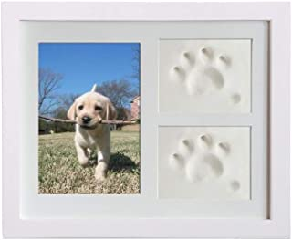 VehiGo Pet Paw Print Keepsake Kit, Wooden Photo Frame with Pet Paw Print Imprint Kit, Memorial Clay Imprint Kit for Dog or Cat