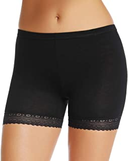WOWENY Seamless Slip Shorts for Women Under Dresses Anti Chafing Lace Boyshort Panties Thigh Bands Smooth Underwear