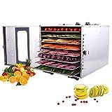 Deshidratador de alimentos 8 capas deshidratador de alimentos con puerta de cristal, 40 ~ 90 ° C Temperatura Marco, 15 Horas de temporización de frutas Secadora, deshidratador de la máquina de las fru
