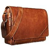 STILORD 'Nick' Umhängetasche Leder Herren Damen Unitasche 15.6 Zoll Laptoptasche Aktentasche Bürotasche Vintage Büffel-Leder, Farbe:Cognac - glänzend