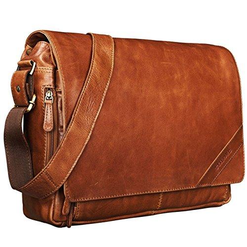 STILORD \'Nick\' Umhängetasche Leder Herren Damen Unitasche 15.6 Zoll Laptoptasche Aktentasche Bürotasche Vintage Büffel-Leder, Farbe:Cognac - glänzend