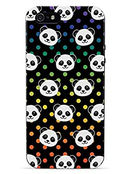 Inspired Cases - 3D Textured iPhone 5c Case - Rubber Bumper Cover - Protective Phone Case for Apple iPhone 5c - Cute Panda Pattern - Rainbow Polka Dots - Black