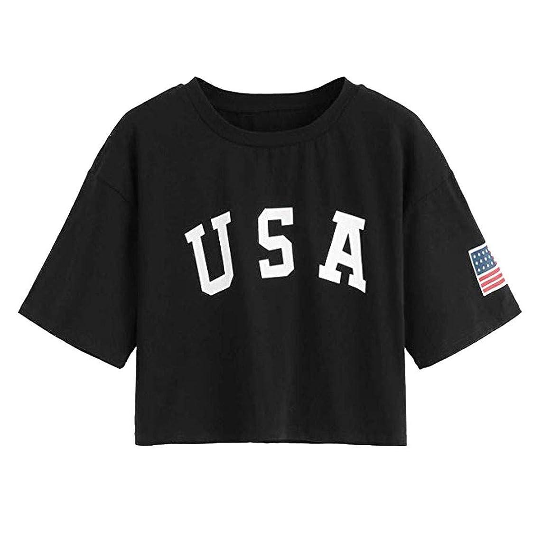Yxiudeyyr Women Short Sleeve T-Shirt Summer Letter Flag USA Print Casual Loose Tunic Crop Tops