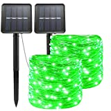 Solar St. Patrick's Day String Lights Green Outdoor Waterproof 72ft 100 LED(2 Pack) 8 Modes Copper String Lights Fairy Lights for Valentine's Day Garden, Patio, Fence, Balcony, Outdoors(Green 2pcs)