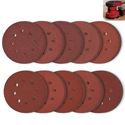 LESNIC Discos de Lija 125mm 100 hojas, Velcro Papel Abrasivo