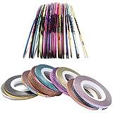 32 Rotoli Striping di Bellezza a Colori Misti,Smalti per Unghie Linee oro e Argento per Decorazioni per Strumenti per Unghie