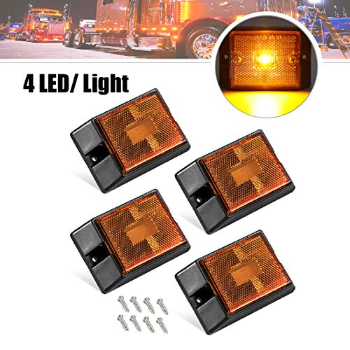 CZC AUTO LED Amber Side Marker Lights Sealed Submersible LED Clearance Reflector Lamps Waterproof Trailer Running Lights for 12V Boat Trailer Truck Marine RV (Amber, 4 pack)