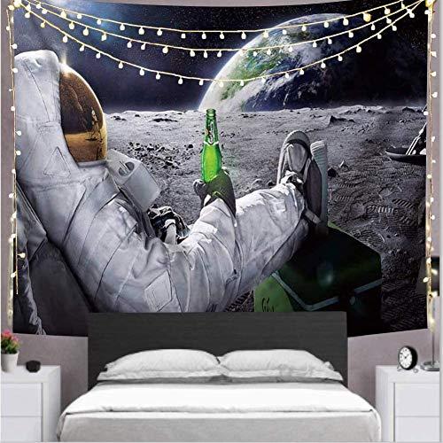 TIAQUN Astronauten Raumfahrer Wandbehang, Raumfahrer mit Bier sitzend auf Universum Weltall Sterne Galaxie Weltraum Wandteppich für Schlafzimmer Wohnzimmer Schlafsaal 198 x 147 cm
