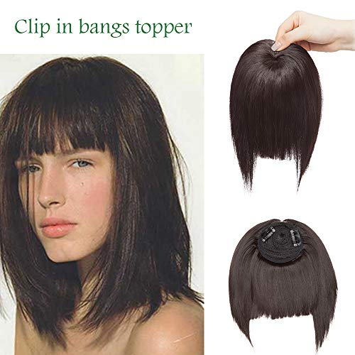 SEGO Frangia Finta Folta Capelli Finti per Frangetta Extension Clip Top Testa 40g Hair Bang Fringe Posticci Toupet Donna - Marrone Scuro