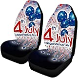 Not applicable 4 de julio Día de la Independencia Universal Fit Full Set Flat Polyester Fabric Asiento de coche, apto para la mayoría de los automóviles, camiones, SUV o furgonetas