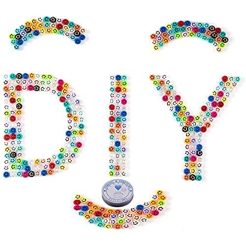 NXLWXN Cuentas de Sonrisa, Abalorios para Hacer Pulseras, Perlas para Collares, Kit de fabricación de Joyas para niñas, 400 Cuentas Emoji para Hacer Pulseras
