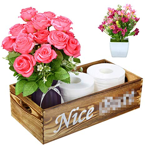 1 Pack Nice Butt Bathroom Decor Box Wooden Toilet Paper Holder Box Organizer Toilet Tank Box Rustic Funny Home Decor Box for Bathroom Kitchen Table Counter Spray Bottle Artificial Flower Included