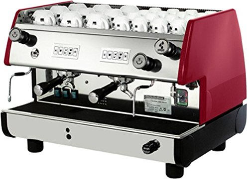 La Pavoni BAR-T 2V-R Commercial 2 Group Volumetric Espresso Machine, Red, 14L Boiler Water Capacity, Electronic Automatic Water Level