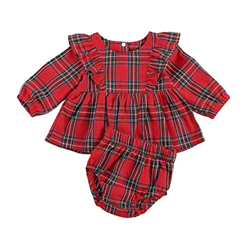 LUCSUN Conjunto de ropa de Navidad para recién nacido, con volantes y mangas a cuadros, color rojo
