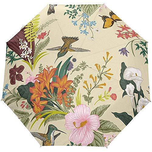 Weinlese-Blumenblumen-Vogel-Auto-Öffnungs-nahes Sun-Regen-Regenschirm