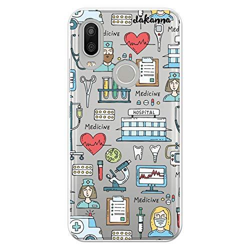 dakanna Funda para [BQ Aquaris X2 - X2 Pro] Dibujo: Simbolos Medicina Enfermera Ambulancia Corazón Hospital, Carcasa de Gel Silicona Flexible [Fondo Transparente]