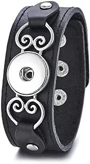 My Prime Gifts Snap Jewelry Black Leather Heart Bracelet Fits Standard Size 18-20mm