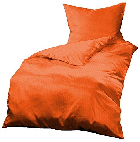 Gerald Wittmann 2 TLG. Microfaser Seersucker Bettwäsche, Uni Orange, 140x200 cm + 70x90 cm