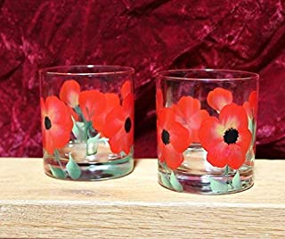 Hand Painted Rock Glasses - Poppy Red (Set of 2)