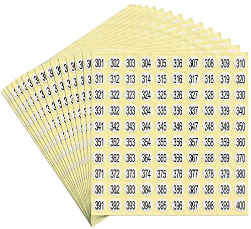 dealzEpic - Number Stickers - 301 to 400 Round Self Adhesive Stickers | Inventory/Storage Organizing Stickers - Set of 15 Sheets