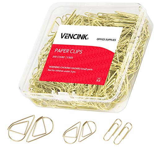 300 Pcs Cute Gold Paper Clips Assorted Sizes, Smooth Steel Wire Drop-Shaped Paperclips Large Medium and Small for Office Supplies School Student Girls Kids Women Wedding Decorative by VENCINK