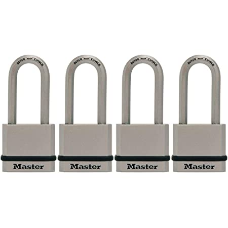 Master Lock M530XQLHCCSEN M530XQLH Magnum Solid Steel Keyed Alike Padlocks, 4 Pack, Assorted, 4 Count