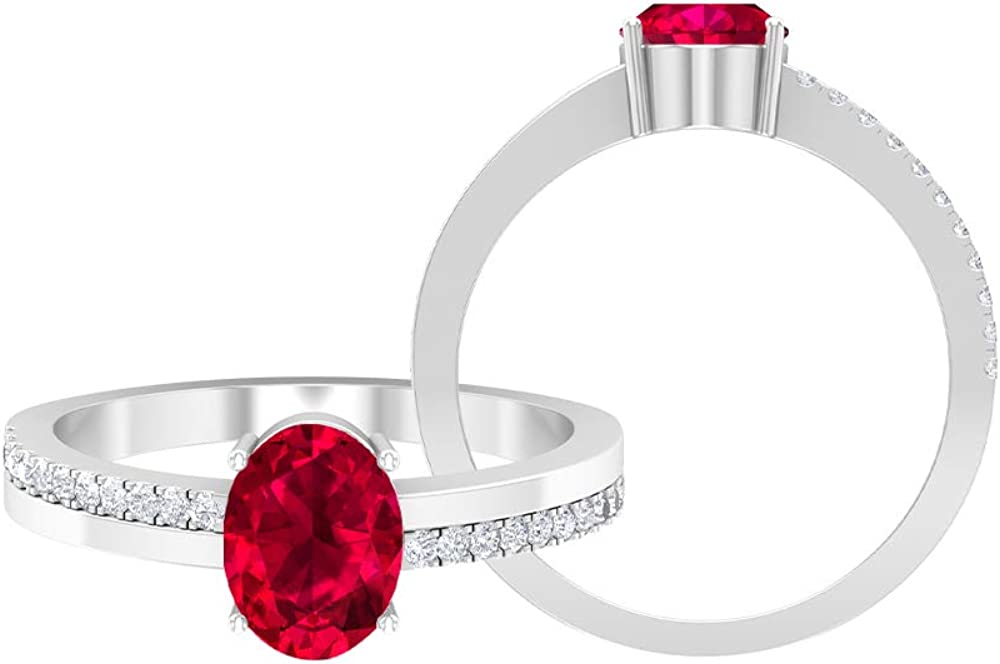 1.75 CT Solitaire Credence Limited time cheap sale Ruby Ring 1.2 Two D-VSSI Moissanite MM