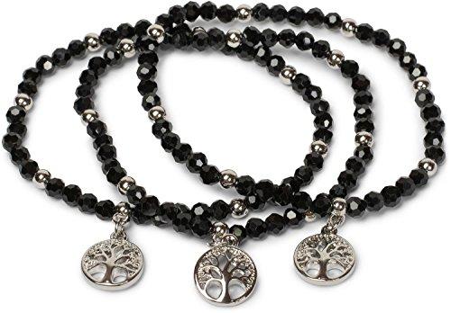 styleBREAKER 3er Set Perlen Armband mit Lebensbaum Charm Anhänger, Gummizug, Kugelarmband, Schmuck, Damen 05040138, Farbe:Schwarz
