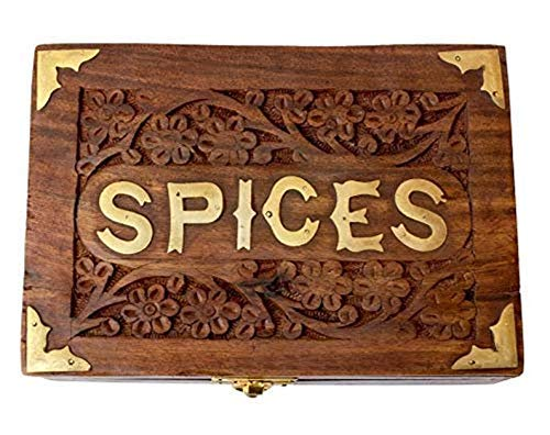India Metálica Caja de Especias con Cuchara en Madera Estante de Especias Soportes de Especias Contenedor Masala Cajas Decorativas Caja de Almacenamiento Caja de Especias para Especias Contenedores