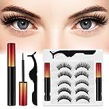 Magnetische Wimpern 5 Paare, Magnet Wimpern, 3D Magnetische Wimpern mit Eyeliner, Magnetische Wimpern Eyeliner Set, Wasserdicht und wiederverwendbar mit Pinzette (rot)