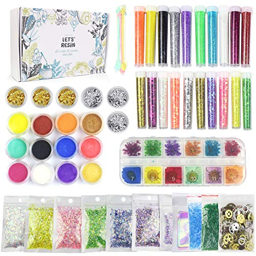 LET'S RESIN Resin Jewelry Making Supplies,50 Pcs Resin Supplies and Resin Accessories Kit with Resin Glitter,Mica Powders,Dry Flowers,Mylar Flakes,Resin Decoration Kit for Resin,Slime,Nail Art Crafts